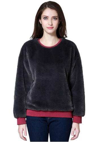 London Rag grey Grey Fur Sweatshirt 4254CAA7FE18B8GS_1
