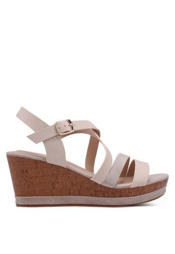 Carlton London beige Strappy Wedge Sandals 5D57ASH902BF47GS_1