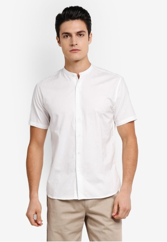 ZALORA white Slim Fit Mandarin Collar Oxford Short Sleeve Shirt 77C2BAAA40C40DGS_1