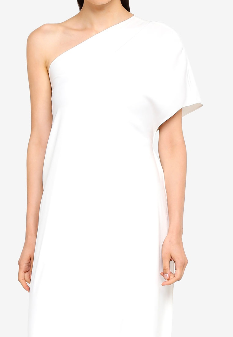 One Shoulder White AfiqM Draped Top O0nxgHgq