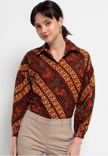 Batik First brown Blouse Kemeja Audrey Baloon 0E936AA3C63A92GS_1