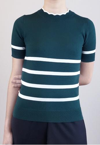 SUB green Women Stripe Pattern Knit Top A0260AA7C79B21GS_1