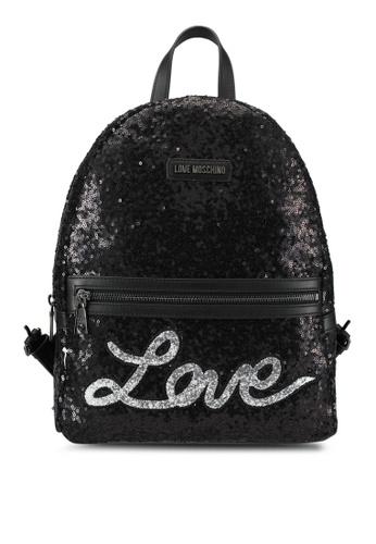 Love Moschino black Borsa Sequins Metallic Backpack LO478AC0SEJIMY_1