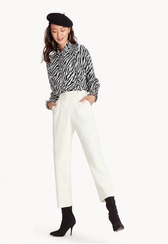 Pomelo white Tina Straight Leg Trousers 89DADAAF74CC9EGS_1