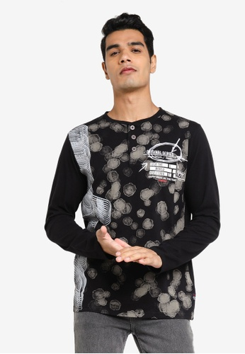 Desigual black Printed Long Sleeves Shirt ACF84AAA387060GS_1