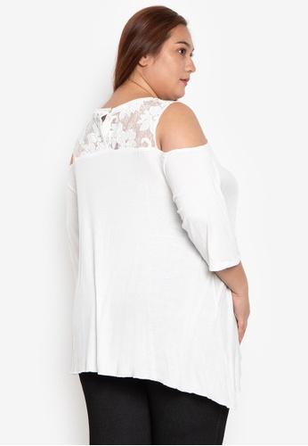 8a44a9c116bc35 Shop Maxine Plus Size Blouse Cold Shoulder A Line Knit w  Lace Online on  ZALORA Philippines