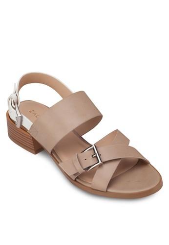zalora 包包評價交叉寬帶繞踝粗跟涼鞋, 女鞋, 細帶高跟鞋