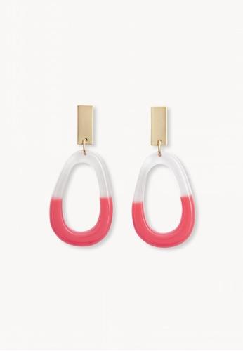 Pomelo orange Two Tone Oval Drop Earrings - Orange 4AE0BACCD60821GS_1