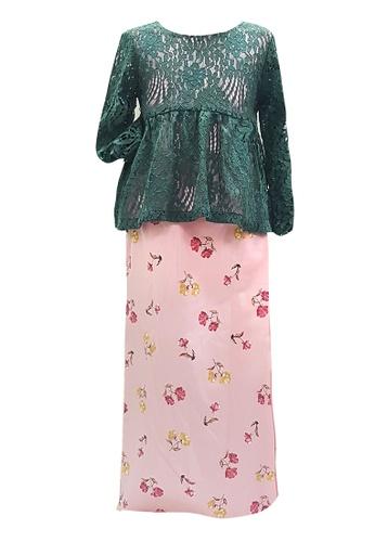 MINI PINK multi Sweet Frosty Green Floral Lace Peplum Baju Kurung 6B8A3KAB2B9680GS_1
