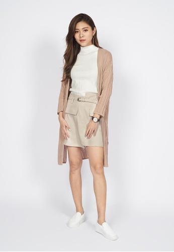 Sophialuv beige Knitted long Cardigan in Beige 6A9EEAA42FCF24GS_1