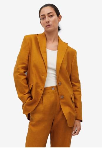 Mango brown Linen Blazer 410A3AAA77DA52GS_1
