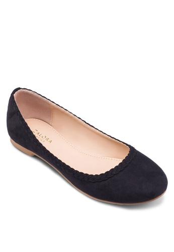 ZALORA 黑色 編織平底鞋 FA0B6SH62BFE70GS_1