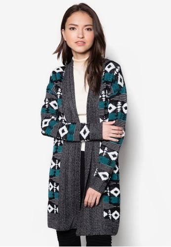 幾何針織長版外套, 服飾esprit 香港 outlet, 服飾