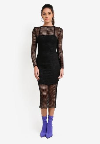 Something Borrowed black Mesh & Cami Dress 835A3ZZA739BA7GS_1