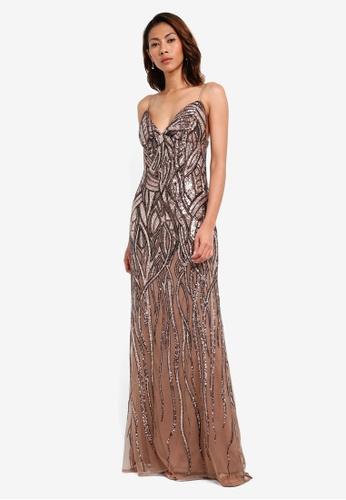 Goddiva gold Patterned Sequin Maxi Dress D7136AA9204CADGS_1