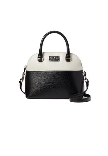 Kate Spade Grove Street Mini Carli Leather Crossbody Bag Black And White