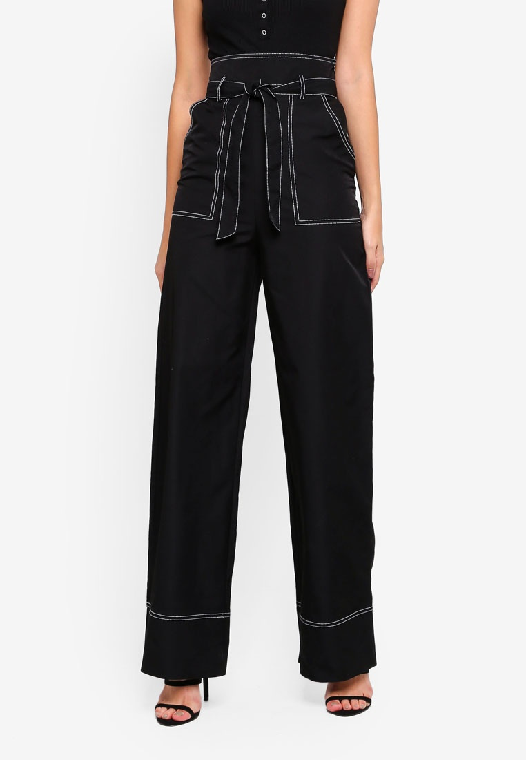 Madison Tie MISSGUIDED Contrast Black MISSGUIDED Wide Waist x Trousers Beer dpvXO