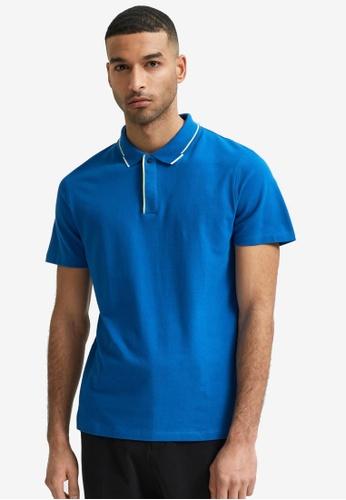 Selected Homme blue Marcus Short Sleeve Polo Shirt 2C61CAADB99FA3GS_1