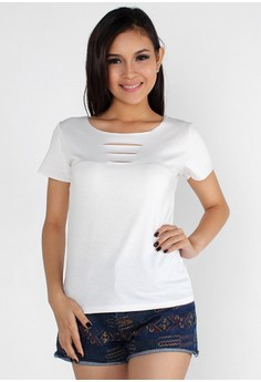 Pretty Cut Out Round Neck Top