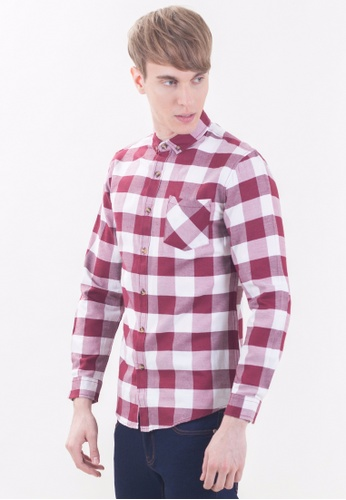 Drum Classical Checks Long Sleeve Shirt-MRN DR425AA17RPEMY_1