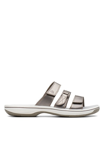 Clarks CLARKS Brinkley Coast Pewter Metallic Synthetic Womens Casual Sandals 87C13SHC25863DGS_1