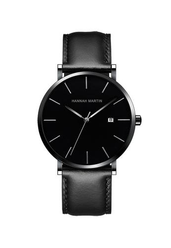 HANNAH MARTIN black Hannah Martin Classic Men Leather Quartz Watch 528E8AC6C2BCE4GS_1