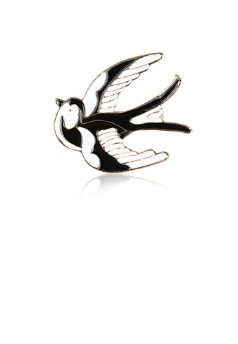 Glamorousky silver Fashion Simple Plated Gold Enamel Black and White Swallow Brooch 7B743ACCD58F5DGS_1