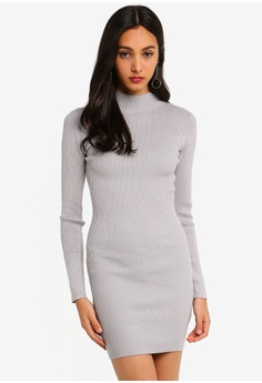 fd472fcd53 MISSGUIDED grey High Neck Knitted Mini Dress 0DCD4AAB7A07D1GS 1