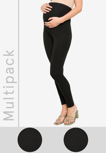 Mama.licious black Maternity Lea Org 2 Pack Long Leggings 16D14AA8BE6080GS_1