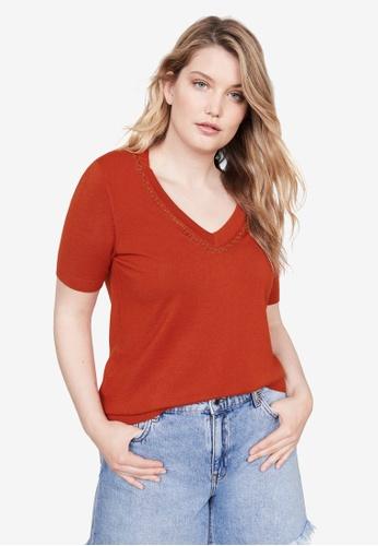 Violeta by MANGO 紅色 Plus Size Chain Fine-Knit Sweater A06D9AAEB84371GS_1
