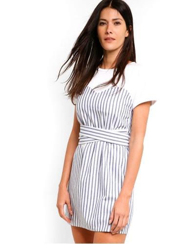 ZALORA multi Mixed Fabrics Dress With Tie 0EC39AA2330A9FGS_1