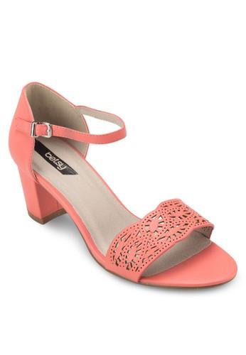 雕花寬帶繞踝粗跟鞋,京站 esprit 女鞋, 鞋