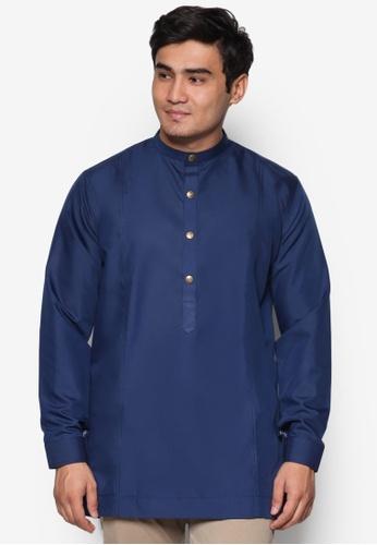 Amar Amran blue and navy Kurta  Al Hakim AM362AA78UNXMY_1