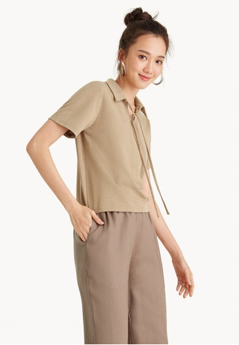 Pomelo beige Front Bow Polo Shirt - Brown A455DAAC15014EGS_1