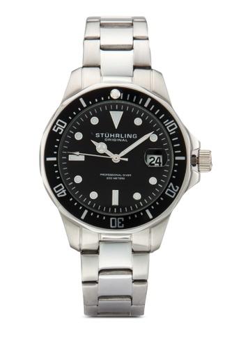 Stuhrling Original silver Aquadiver Quartz Date Stainless Steel Link Bracelet Diver Watch ST251AC27MZSMY_1