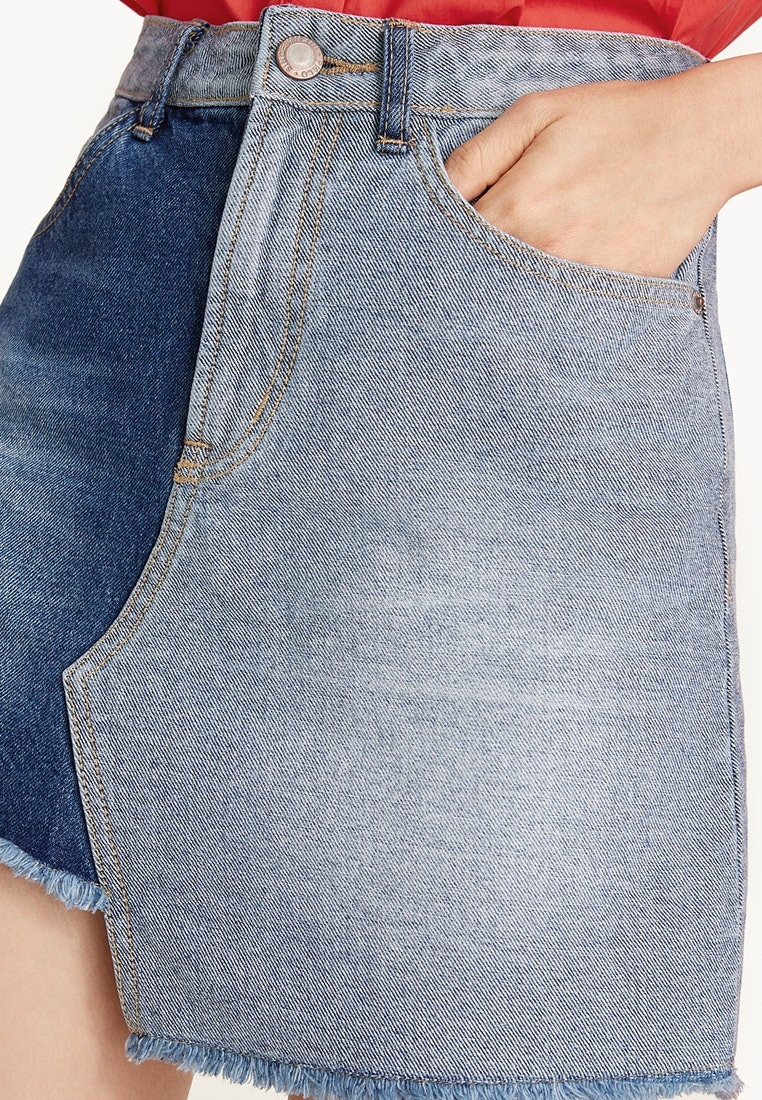 Denim Two Asymmetric Pomelo Blue Toned Mini Skirt 6qIOOE