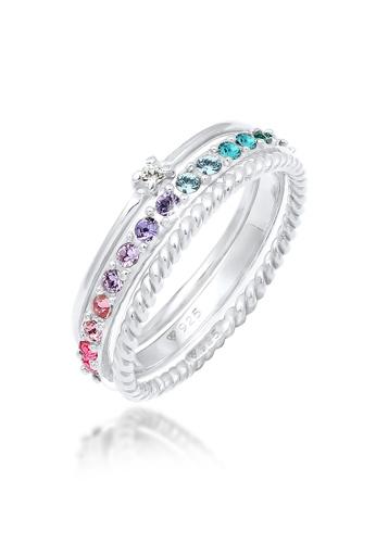 ELLI GERMANY silver Multi-Colour Swarovski Crystals Ring Set 3954EACB368887GS_1