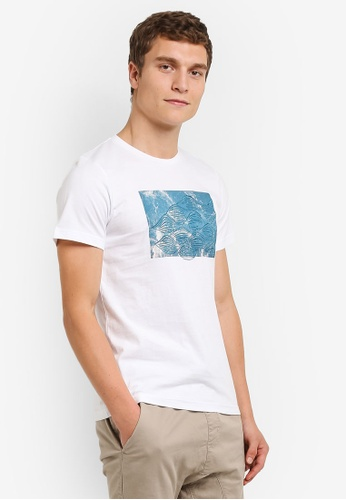 ZALORA white Water Printed Tee with Embroidery D3C27AAB572F33GS_1