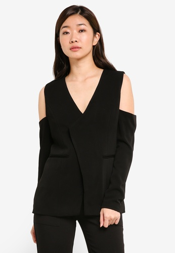 ZALORA black Studio Cold Shoulder Blazer CB068AA75B0E31GS_1