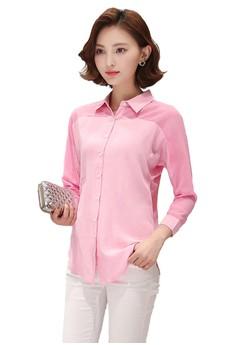 Seethrough Chiffon Pink Blouse Shirt