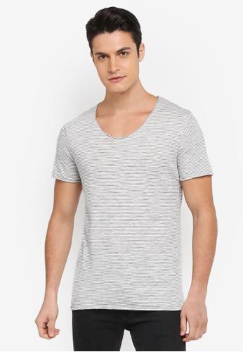Selected Homme 白色 短袖條紋T恤 F8D5BAA4A9703BGS_1