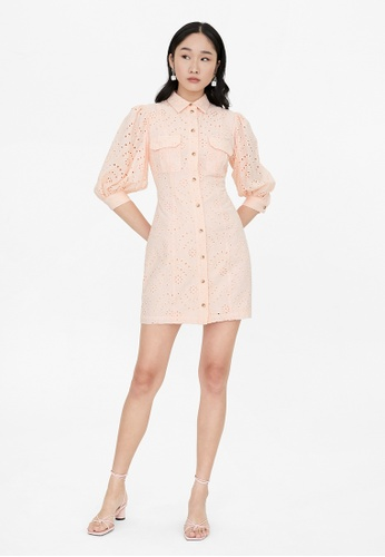 Pomelo pink Eyelet Button Up Puffed Sleeves Dress - Pink 82C4BAA3A7421FGS_1