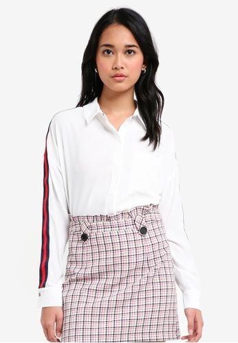 Topshop Womens Side Striped Shirt - Fake Online Buy Cheap Store Best Wholesale For Sale Free Shipping Sast Wide Range Of Cheap Price ieOBq
