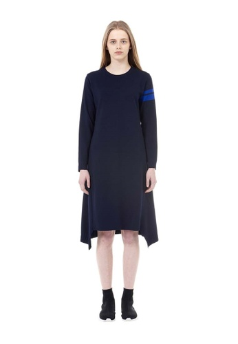 VOV(Voice of Voices) navy Navy Asymmetric Dress With Colour-Contrasting Cuffs 64DF2AAD1A4846GS_1
