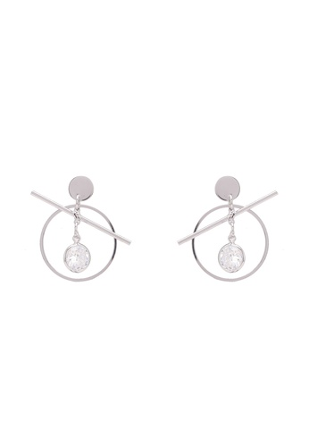 Dandelion silver CZ Circle Earrings DA944AC0S0X0MY_1