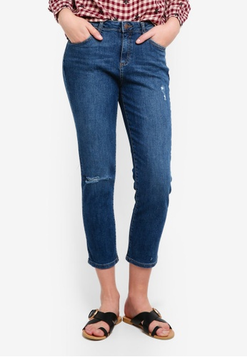 Dorothy Perkins blue Mid Wash Taylor Cigarette Crop Jeans 68791AAAC4039FGS_1