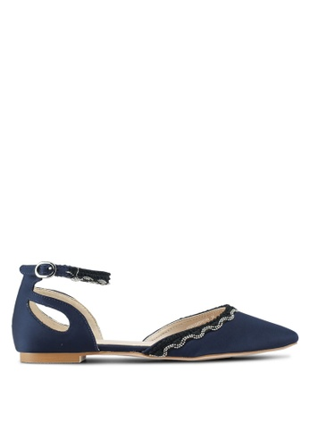 Velvet blue and navy Ankle Strap Cut Out Ballerina Flats A65D1SH4316280GS_1