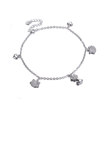 Glamorousky white 925 Sterling Silver Fashion Cute Little Cat Bracelet with Austrian Element Crystal AD519ACE6F5C14GS_1