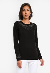 Dorothy Perkins black Black Diamante Yoke Jumper DO816AA0SB78MY_1