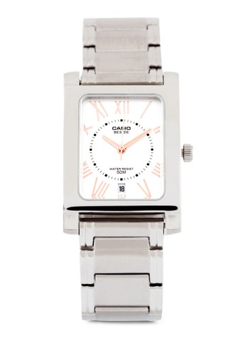 Casio BEM-100D-7A3VDF 不esprit 旺角銹鋼方錶, 錶類, 不銹鋼錶帶